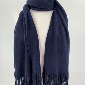 Merona Navy Blue Soft Fringed Scarf